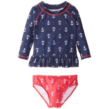 Little Girls′ Anchor Printed Rashguard Swim Set
