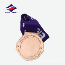 Eco-friendly shiny bronze plated metal sports medal