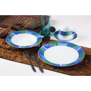 16 stuk Decal wit porselein diner Set mozaïek