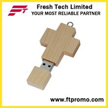 Cruz de bambu e madeira estilo USB Flash Drive (D807)