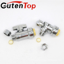 "GutenTop High Quality 1/2"" PUSH FIT X 3/8"" OD COMPRESSION 1/4 TURN ANGLE STOP VALVE CERTIFIED TO NSF ANSI61 LEAD FREE BRASS"