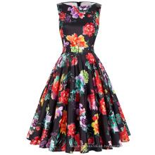 Belle Poque Stock mangas 37 patrones de algodón de verano de las mujeres de impresión floral vestido de época BP000002-28