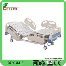 Lit d'hôpital électrique de luxe à trois fonctions avec système de freinage centralisé