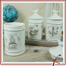 ceramic canister sets with lid with bird