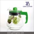 1.5L jarra de vidrio impreso, jarra de agua con tapa de plástico y mango
