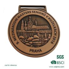 Medalha de bronze polonesa alta personalizada para evento com fita