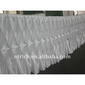 Fascinating!!! 2012 white colour satin table cloth/table skirt,honeycomb style,fashion design