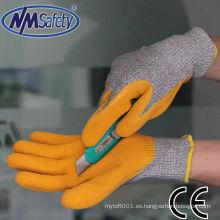 NMSAFETY 13gauge nailon y HPPE y guantes de látex recubiertos de fibra de vidrio resistentes al corte