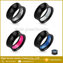 Schwarz Acryl Glitter Inlay Double Flared Ohrläppchen Flesh Tunnels Gauges