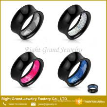 Black Acrylic Glitter Inlay Double Flared Ear Lobe Flesh Tunnels Gauges