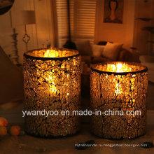 Роскошная свеча с мозаичным стеклянным подсвечником