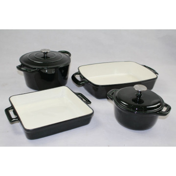 Porcelain Email Interior Finish Cookware Set