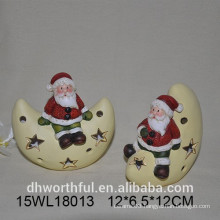 Ceramic Santa & star Christmas ornament