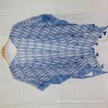 hotsale summer shawl Blue water ripple print design fringe at the bottom super soft hand feeling cappa