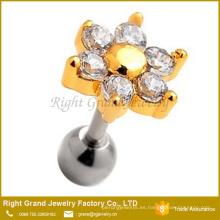 Customzied 6 pétalos zirconia cúbico Prong Set oro plateado flor cartílago pendientes Studs