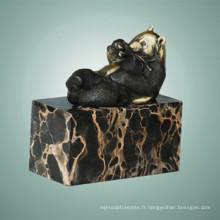 Sculpture en bronze animal Bambou Panda Carving Deco Statue en laiton Tpal-297