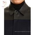Manteau d'hiver en laine de cachemire de mélange de mode des hommes de cuir de mode