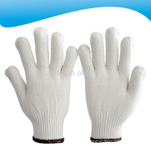 10 gauge bleached white cotton knitted working gloves 400 grams