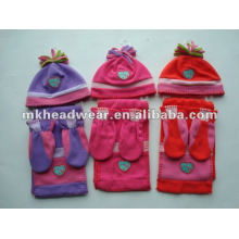 Ensembles mignons de chapeau polaire, écharpe et gants pour enfants
