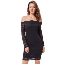 Kate Kasin mujeres atractivas de hombro negro floral encaje vestido de hadas-envuelto bodycon lápiz KK000497-1