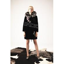 Wanita Austria Merino Shearling Coat With Mink Flower