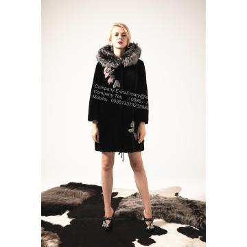 Kvinnor Österrike Merino Shearling Coat With Mink Flower