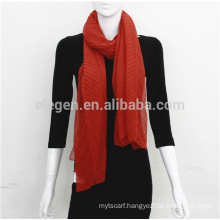 Polyester Plain Solid color crease made in China Long Scarf