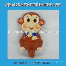Ceramic wall hook with monkey design
