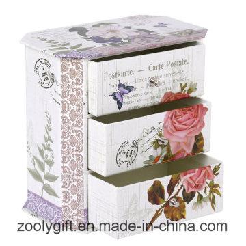 Caja de regalo personalizada de la joyería al por mayor del papel de lujo con 3 cajones