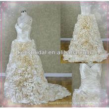 2014 neue Stil Champagner Taft Brautkleid mit Sweathreat Ausschnitt
