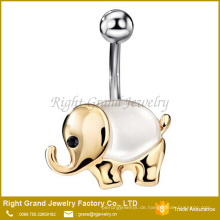Lucky Elephant Silber vergoldet Katzenauge Jeweled Nabel Ring Piercing Body