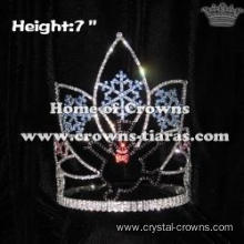 7in Height Rhinestone Snowflake Christmas Crown With Happy Snowman