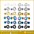 Nuevo diseño PVD chapado en oro Multi-Crystal Fake Plugs Acero quirúrgico