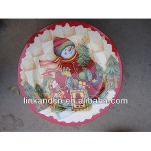 KC-02521 plaques de noel en céramique en céramique, plaque plate ronde décorative