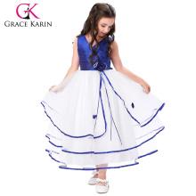 Grace Karin Sleeveless V-Neck Ivory Flower Girl Baby Girls Princess Party Dress 2~12 Years CL008937-4