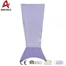 Nueva llegada de la hoja de plata púrpura franela paño grueso y suave sirena cola manta