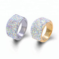 Stainless Steel Crystal Clay Paved Shamballa Wedding Band Ring