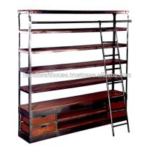 Industrie Holz Metall Wide Regal und Schubladen mit Leiter Bibliothek Bücherregal
