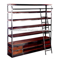 Industrial Wood Metal Wide Shelf and Drawers with ladder Library Bookcase