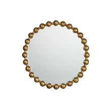 Ventes chaudes nouveau miroir rond encadré par boule de boule dans la finition en laiton antique d'or pour la décoration de mur de mode
