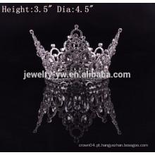 A prata nova do metal da forma da chegada chapeou as coroas redondas cheias do diamante da representação grande venda