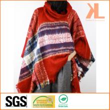 Женская зимняя красная проверенная пулованная тканая шаль с воротником