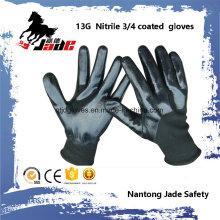 13G 3/4 schwarzer Nitril glatter beschichteter Handschuh