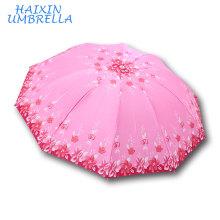 Bangladesh Big Market Venta caliente Satin 10K plegable paraguas de bajo costo 388 marca Tian Tang Mei