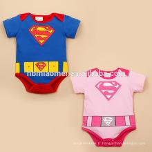 2017 rose et bleu couleur coton manches courtes superman barboteuse pour les garçons et les filles