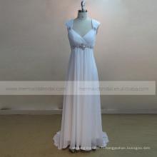 Lovely A-line Cap Sleeve doux coeur plissé en mousseline de soie robe de mariée perles sur la taille