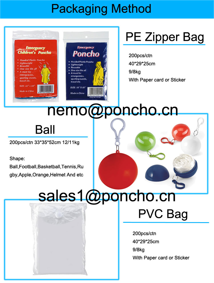Ball package rain poncho