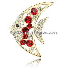 Vestidos de noite para mulheres broche de cristal em jóias de decoração de ouro forma de peixes broches