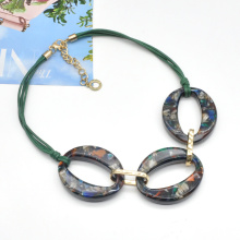 2021 colorful spring summer jewelry for women hoop link rope chain cellulose acetate necklace