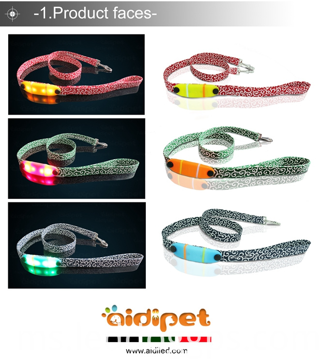 Nylon Webbing Led Dog Leash